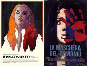 Spot the influence? Left: poster for Cassavetes's Kiss of the Damned; right: poster for Bava's Black Sunday (Italian title--La manschera del demonio, or The Mask of Satan).